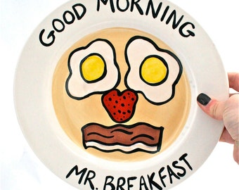 Pancake, Eggs and Bacon Silly Face Breakfast Plate