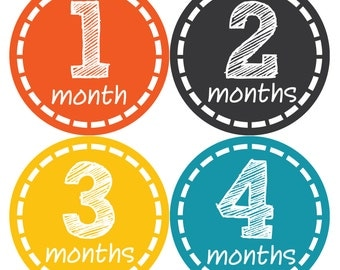Monthly Baby Milestone Stickers Baby Boy Baby Shower Gift One-Piece Baby Stickers Monthly Baby Stickers Baby Month Stickers  149