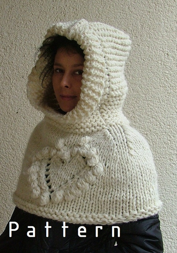 Free Knitting Patterns For Shoulder Cowls : Items similar to Knitting PATTERN- The Hooded Cowl, Capelet, Shoulder Cozy, S...