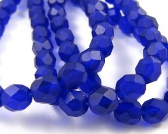 Matte Cobalt Blue 6mm Facet Round Czech Glass Fire Polished Beads 25pc #1402