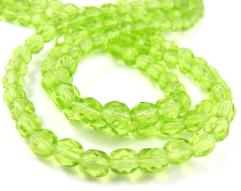 Spring Green 5mm Facet Round Czech Glass Fire Polished Beads  #1948