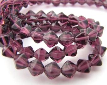 Amethyst 6mm Bicone Czech Glass Beads 50pc #2174