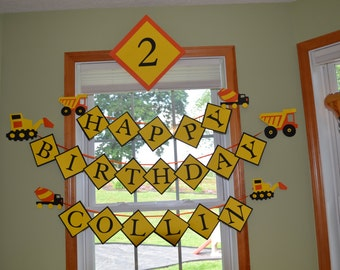 Construction Birthday Party Package - Construction Banner - Happy Birthday Name Banner, Age Sign and Wall Decor