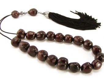 Greek Worry Beads, Komboloi, Dark Brown Juniper Seeds & Handmade Tassel