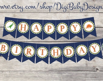 boys Dinosaur Birthday Banner, navy happy birthday banner, PDF instant download printable