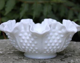 Bowl. Fenton Milk Glass Hobnail Design Bowl.  Ruffled Scalloped Rim. Vintage Fenton Bowl with Hobnail  Pattern.