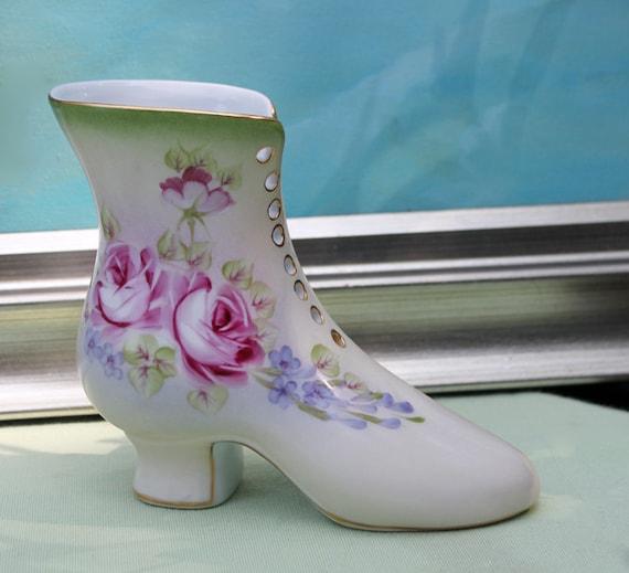 Porcelain Boot Vase Hand Painted Vase in Shape of Shoe