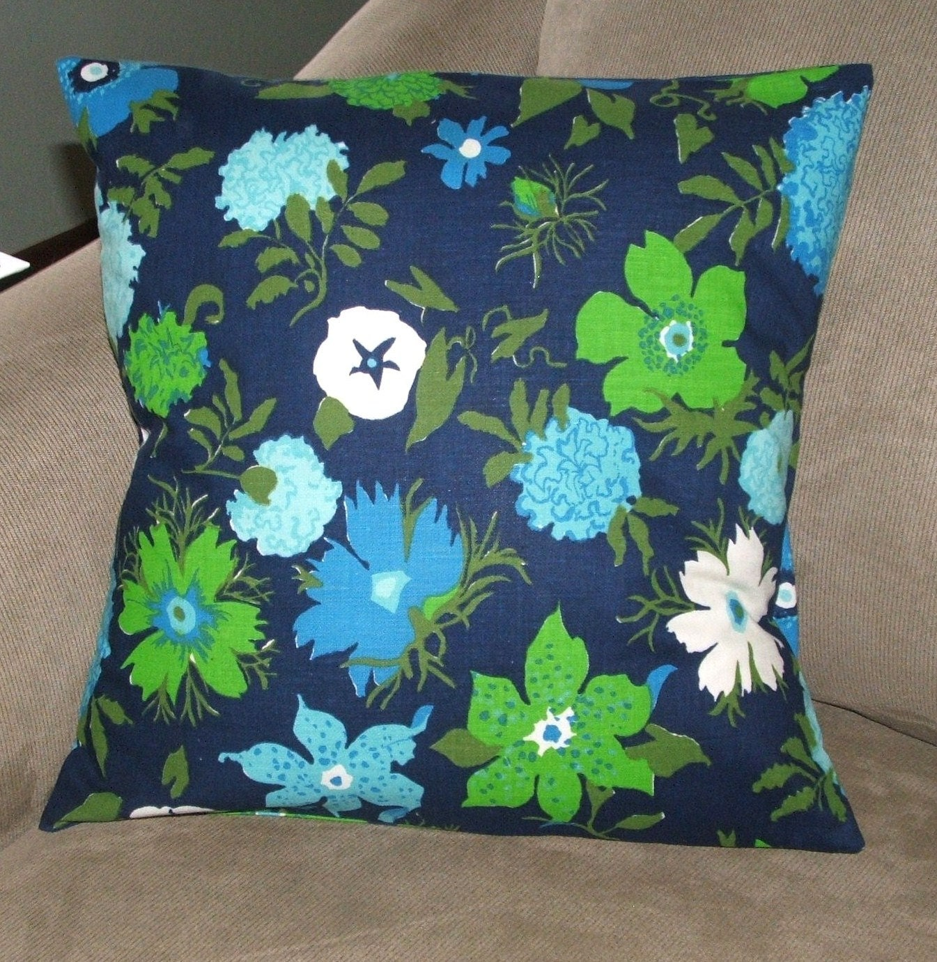 Pillow Cover, Navy, Blue and Green Print, Decorative Pillow Cover, Throw Pillow Cover, 16 X 16 ...
