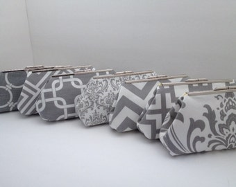 Multiple Clutch Discount for Grey and White Clutch Purses with Nickel/Silver Finish Frame, Bridesmaid Clutch, Purse, Wedding, Nautical