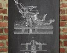 Dentist Chair Patent Poster, Dentist Art, Dental Office Decor, Dental Hygienist Gift, PP510