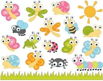 Cute Bugs Clip Art, Insects Clipart, Ladybug, Snail, Dragonfly, Fly, Bee, Caterpillar, Spider - Instant Download - YDC131