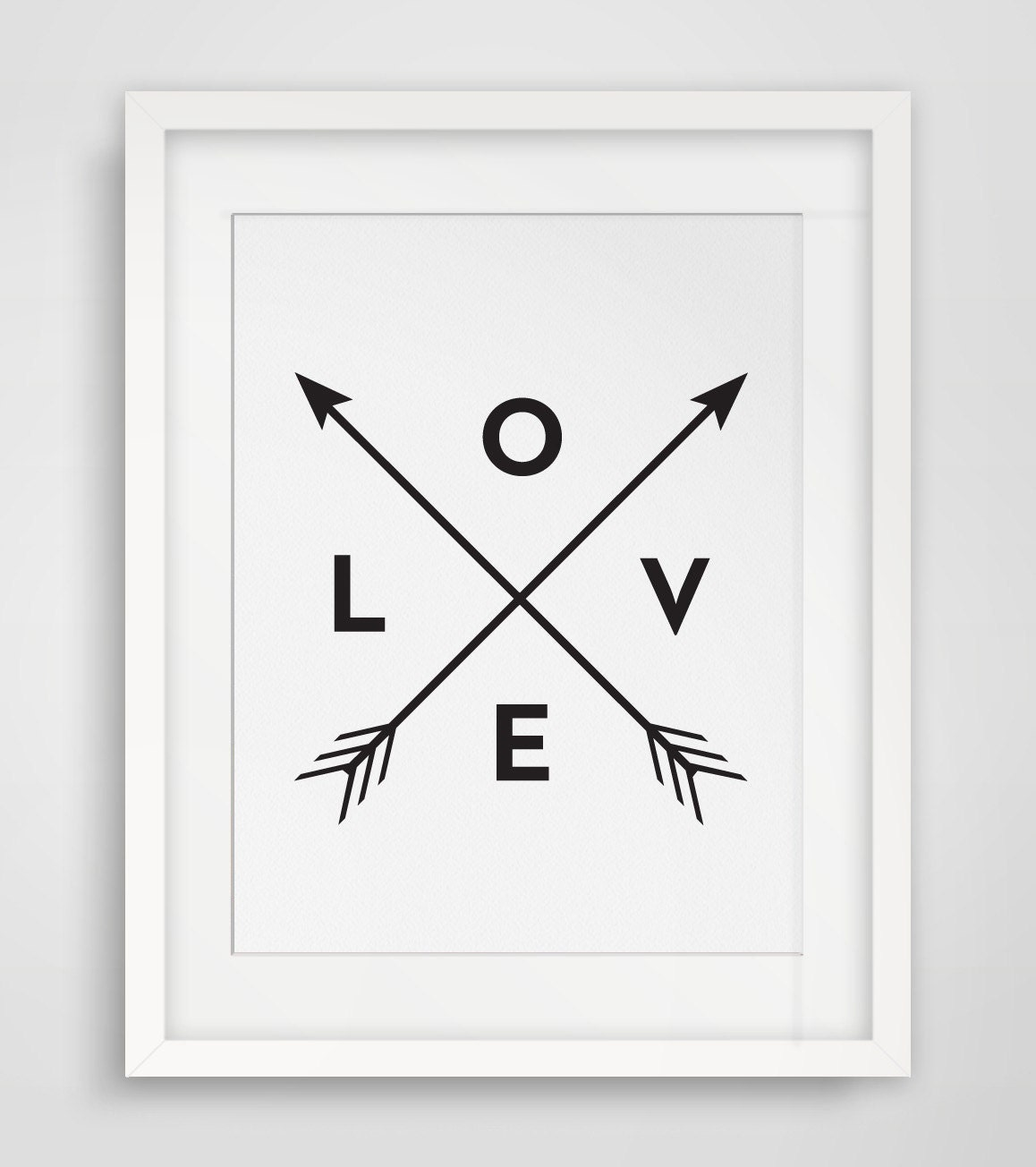 Black and white wall art love art wall decor arrow love for Black art wall decor