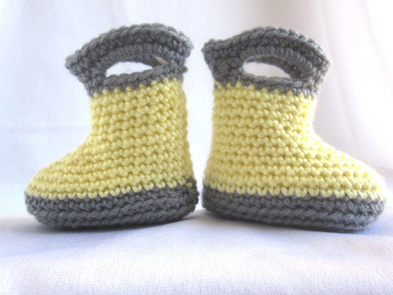 crochet baby rain boots yellow and grey by LittleRabbitCrochet