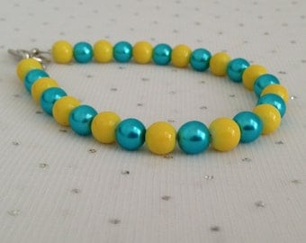Turquoise and Yellow Bracelet, Turquoise and Yellow Wedding, Glass Pearl Bracelet, Bridesmaid Jewelry