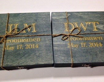 Groomsmen Gift - 7 Rustic Cigar Boxes With Laser Engraved Names - Personalized & Stained - FREE SHIPPING - Felt Lined Bottom