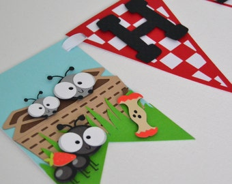 Picnic Themed Birthday Banner, Ants Themed Birthday Banner