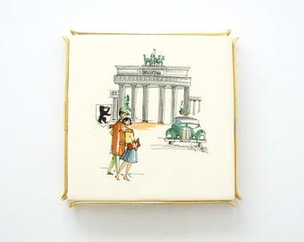 1950s CERAMIC TRIVET, German Mid Century Trivet or Pot Holder, Berlin Scene of Brandenburg Gate, German Keramik Untersetzer, Made in Germany