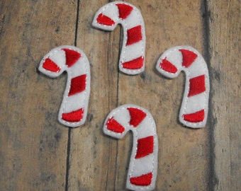 Candy Cane felties, Christmas feltie, machine embroidered, felt applique, felt embellishment, hair bow center,scrapbook embellishment