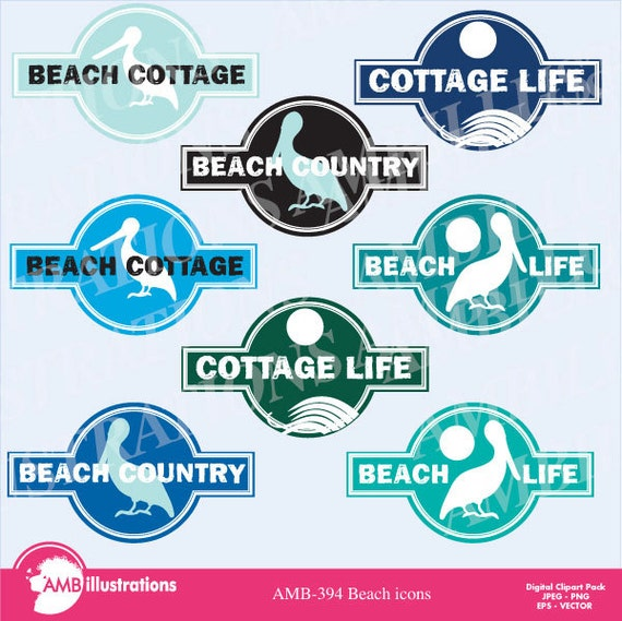 Beach Logo Icons Graphic Sign Clipart