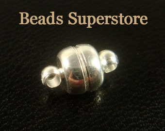 11 mm x 7 mm Silver-Plated Brass Magnetic Clasp - Nickel Free and Lead Free - 4 sets