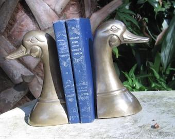 Brass Mallard Duck Head Bookends-Bookshelf Home Decor