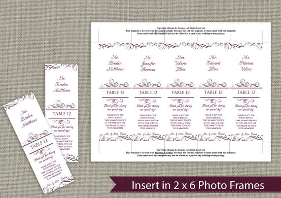 Photo booth place card insert download by karmakweddings for Photo booth frame inserts template