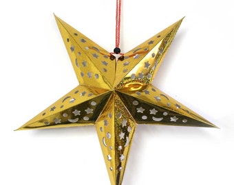 "Cutout Pointed Star Hanging Decoration 16""  - ** FREE SHIPPING **"