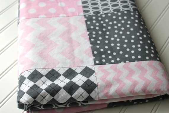 Minky Baby Girl Patchwork Quilt - Gray and Pink - Dots, Chevrons, Argyle - Baby Quilt - Baby Blanket - Minky Baby Blanket