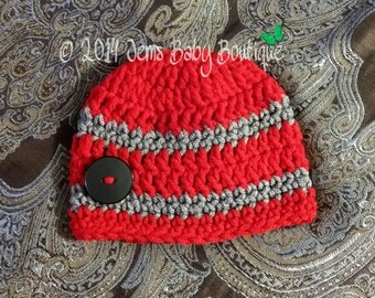 Cute Crochet Red & Grey Baby Boy beanie w black button, Photo Prop Beanie