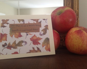 Fall feast card. Leaves and autumnal saying. Thanksgiving.