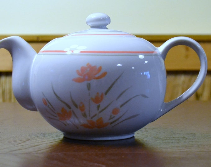 DEAL OF WEEK Vintage Ceramic Teapot Japan Peach and Gray Floral Design PanchosPorch