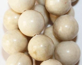 "Natural Fossil Beads  - Round 10 mm beads, Semi Precious Gemstone Beads - Full Strand 16"", 38 beads"