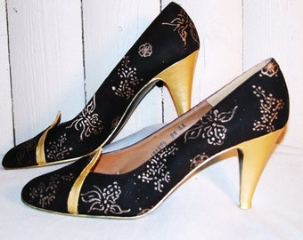 Altered Vintage Brown and Gold Hand Painted Heels, US Women's Size 8
