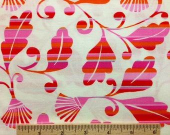 "34"" remnant Dena Designs fabric Monaco Striped Leaves DF36 Fuchsia Pink White fabric Sewing fabric 100% cotton Free Spirit"