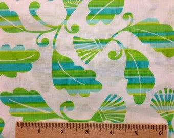 Dena Designs Monaco fabric Striped Leaves DF36 Green White leaf floral Sewing Quilting fabric By the yard 100% cotton Free Spirit