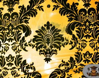 "Taffeta Damask Flocking Fabric 03 BLACK GOLD Backing / 58"" Wide / Sold by the yard"