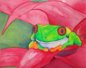 Tree Frog Watercolor Painting - Rainforest Frog - Bright Colors - 8x10