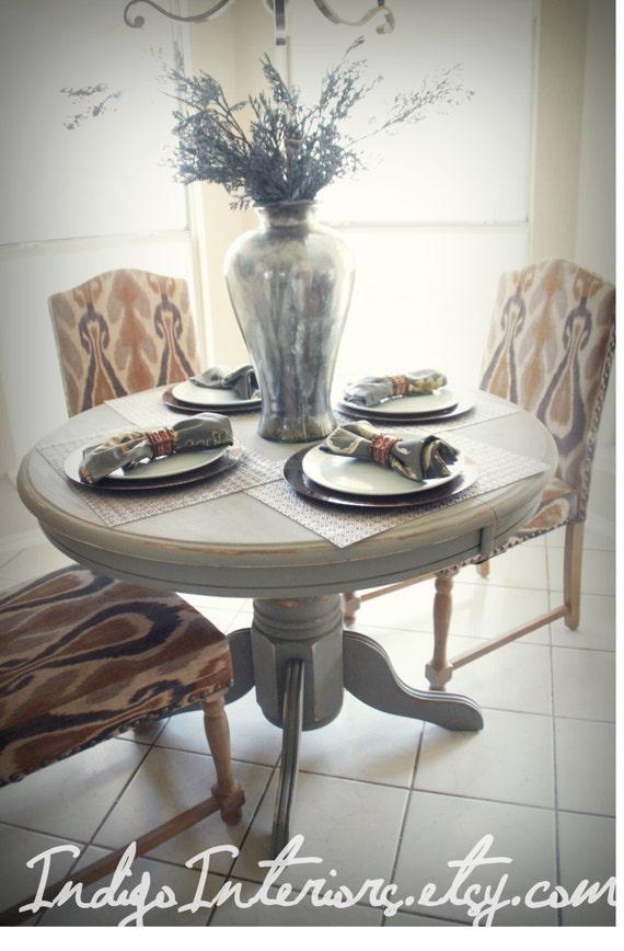 Round Gray Pedestal Dining Kitchen Table