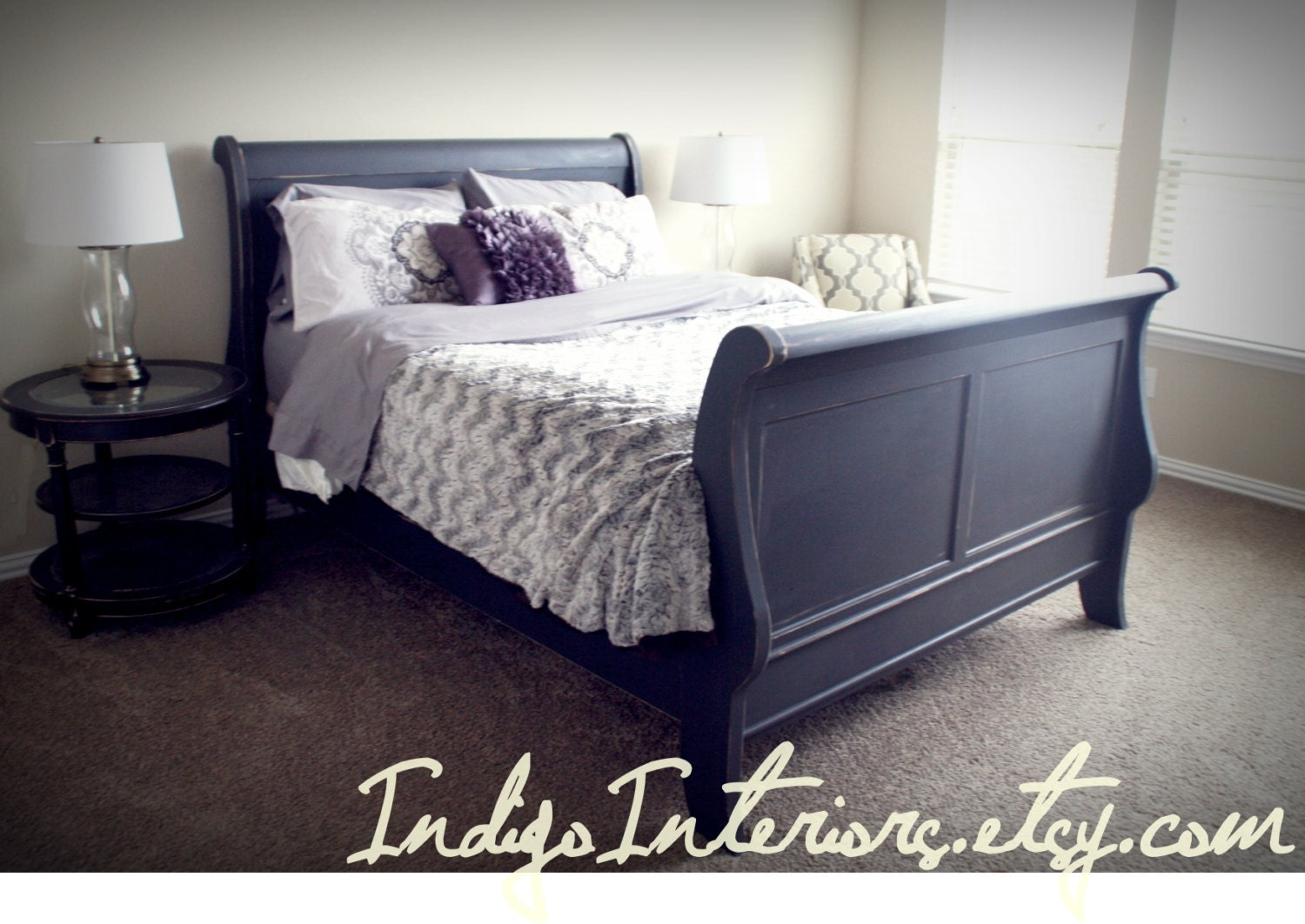 distressed black queen size sleigh bed On painted sleigh bed