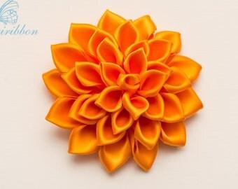 orange ribbon flower hair clip / headband- tangerine satin flower hair clip- adult hair accessories -flower girl hair bow (101)