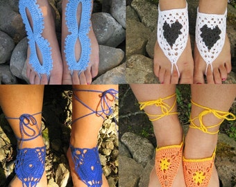 Barefoot Sandals Set of 4 For a price of 3, Crochet Sandals, Sexy Foot Jewelry, Yoga Shoes, Foot Thongs, Nude Shoes, Lace Sandles