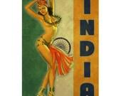 INDIA 1P- Handmade Leather Mini Wallet / Cardholder - Travel Art