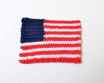 Iron-on Crochet American Flag Patch
