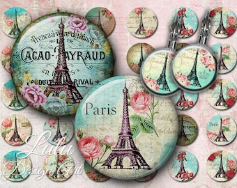 Paris Vintage - Circle Images - 1 Inch - 1,5 Inch - 12 mm - Bottle cap Images - Round Images - Glass Pendant - Paris Circles - Earrings