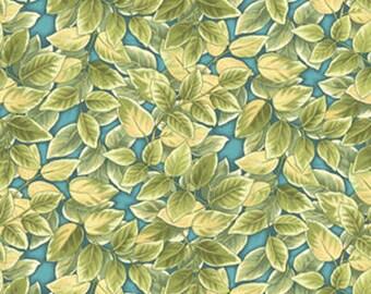 One Yard Florabunda - Leaf in Turquoise - Cotton Quilt Fabric - designed by Broadway Studios for Benartex Fabrics (W1492)
