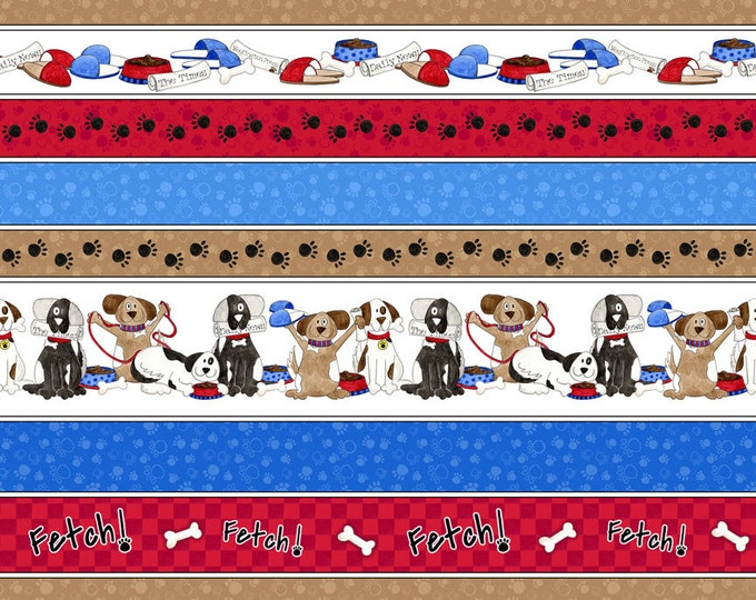 Half Yard A Dog's Life - Dog Decorative Stripe (vertical) in Blue and Red - Cotton Quilt Fabric - Tara Reed for Quilting Treasures (W2067)