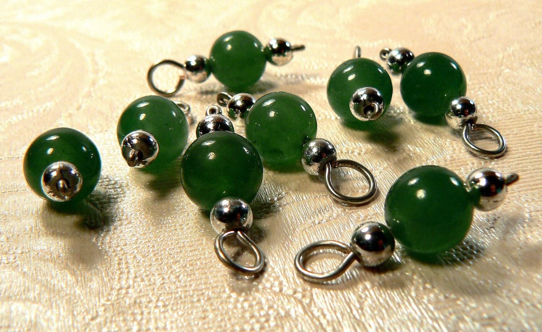 Dark Green Semi Precious Aventurine Stone Charms Stone Bead