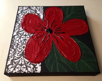 Red flower painting, flower painting, textured flower,mixed media, textured painting,red painting, black painting, green painting 10x10,