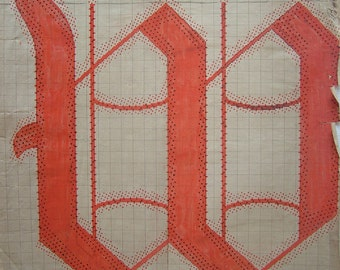 Letter W Original 19th Century Handpainted Textile Design French Monogram Red Cadmium Initial W for Birthday Paper Anniversary Wedding Gift