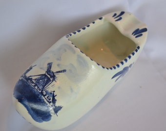 Sale: Delft Blue and White Ceramic Dutch/Holland Clog Shoe with Windmill